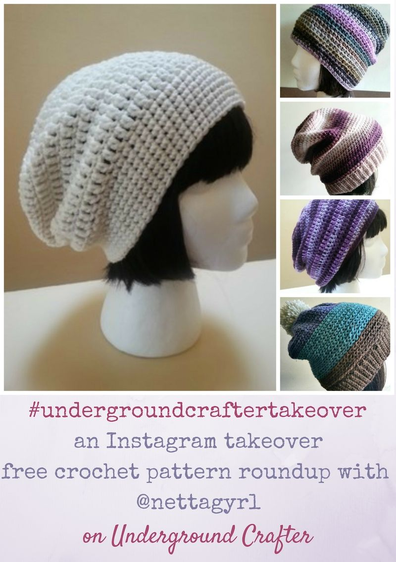 Roundup: 5 free crochet patterns by Olive + Brook | Slouchy hat ...
