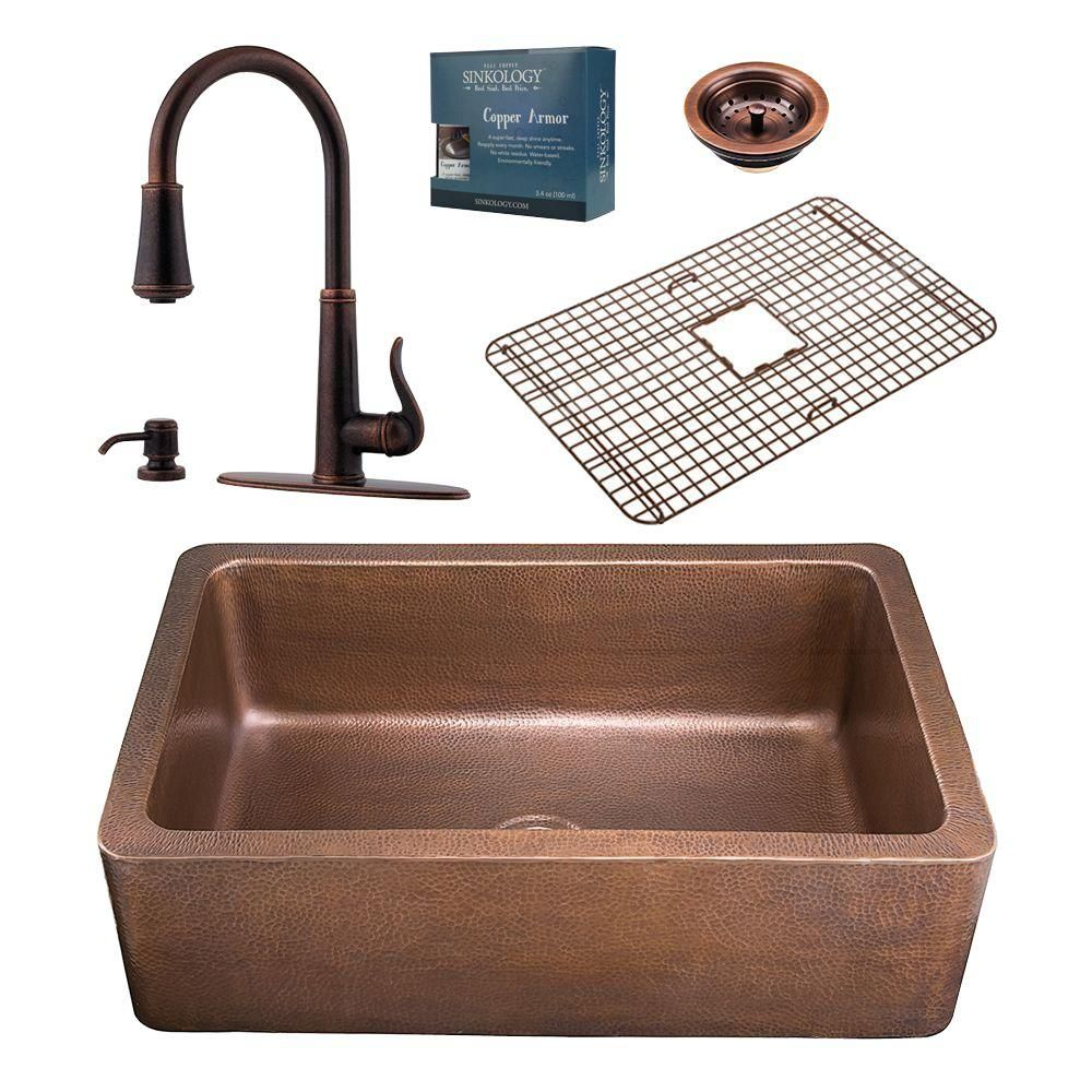 Sinkology Adams All In One Farmhouse Copper 33 In Single Bowl Kitchen Sink With Pfister Ashfield Faucet And Drain K1a 1004 Gt529 Single Bowl Kitchen Sink Kitchen Sink Design Copper Farmhouse Sinks