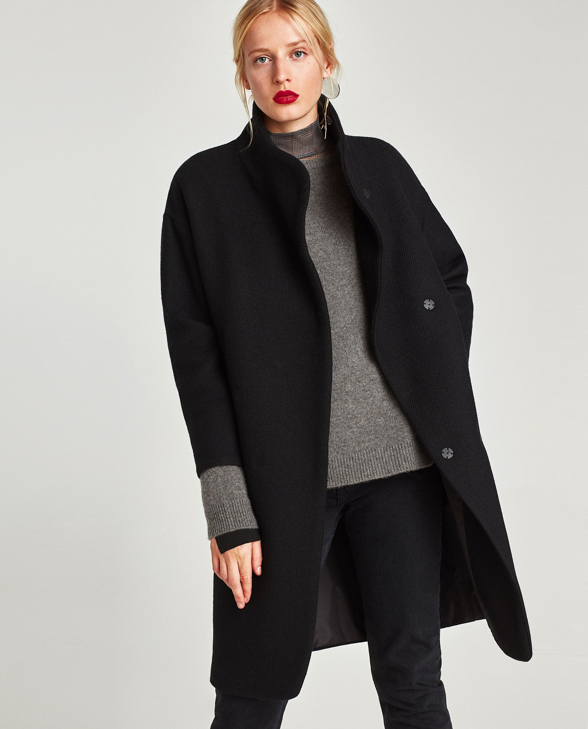 cd5410cf14 LONG COAT WITH WRAPAROUND COLLAR | Zara 2017 in 2019 | Coat, Wrap ...