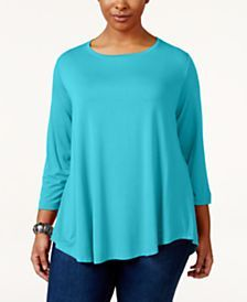 I know this is a plus size example,  but I love the color and the fabric.  Can you find me something like this?  I do like the light weight knit.