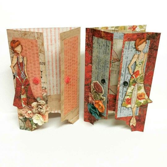Armoire Card and Gatefold Card created for the Prima Doll Stamp. Cards created by Bona Rivera-Tran.