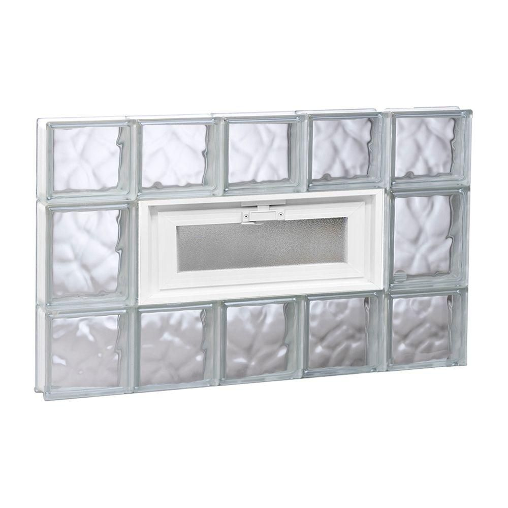 Clearly Secure 28 75 In X 19 25 In X 3 125 In Frameless Wave Pattern Vented Glass Block Window Products Glass Block Windows Glass Blocks Glass Block B
