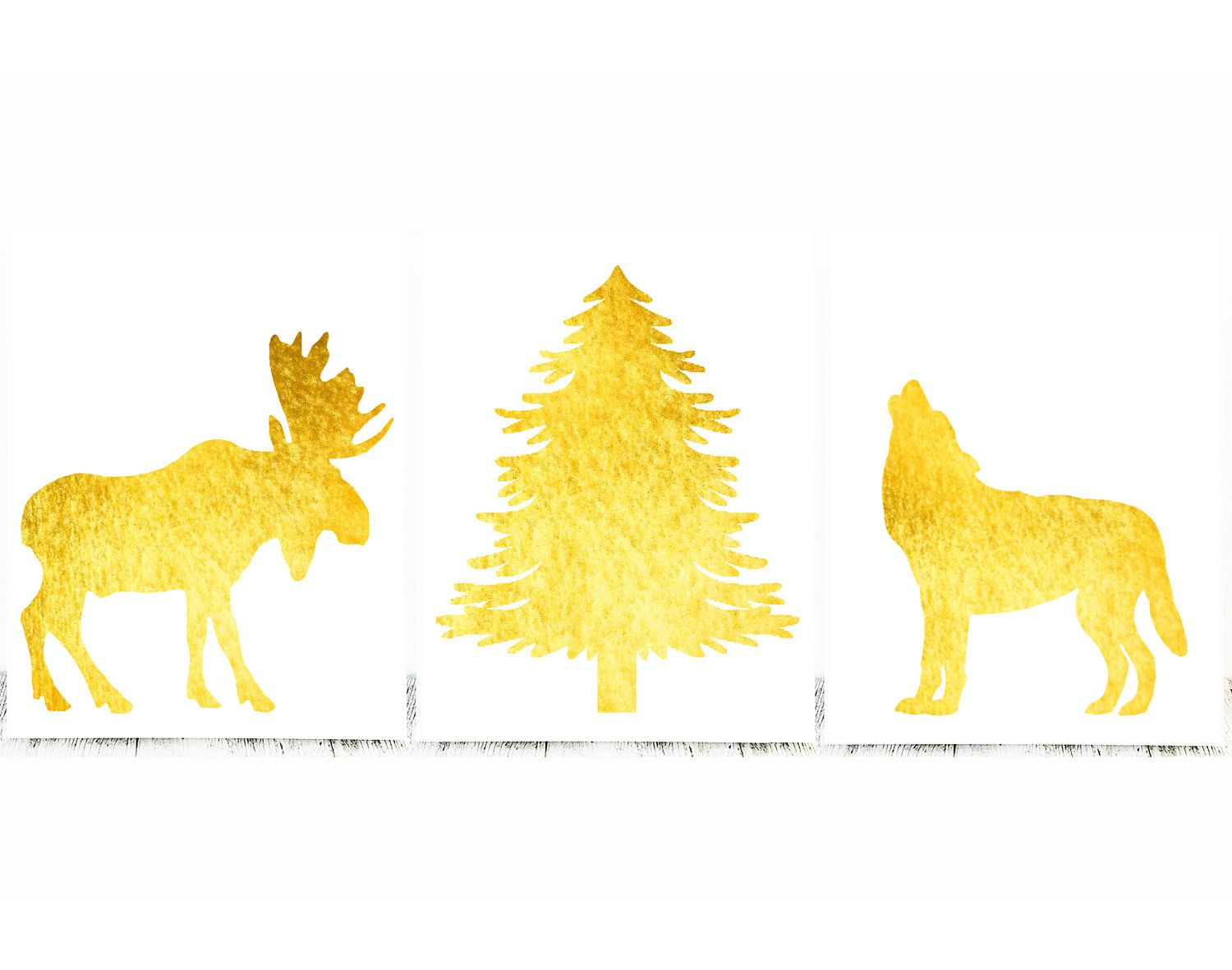 Gorgeous Set of 3 Gold Nursery Prints or to Decorate your Modern ...