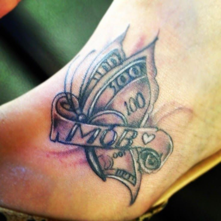 Butterfly Money Tattoo Ideas Special Tattoo On Foot