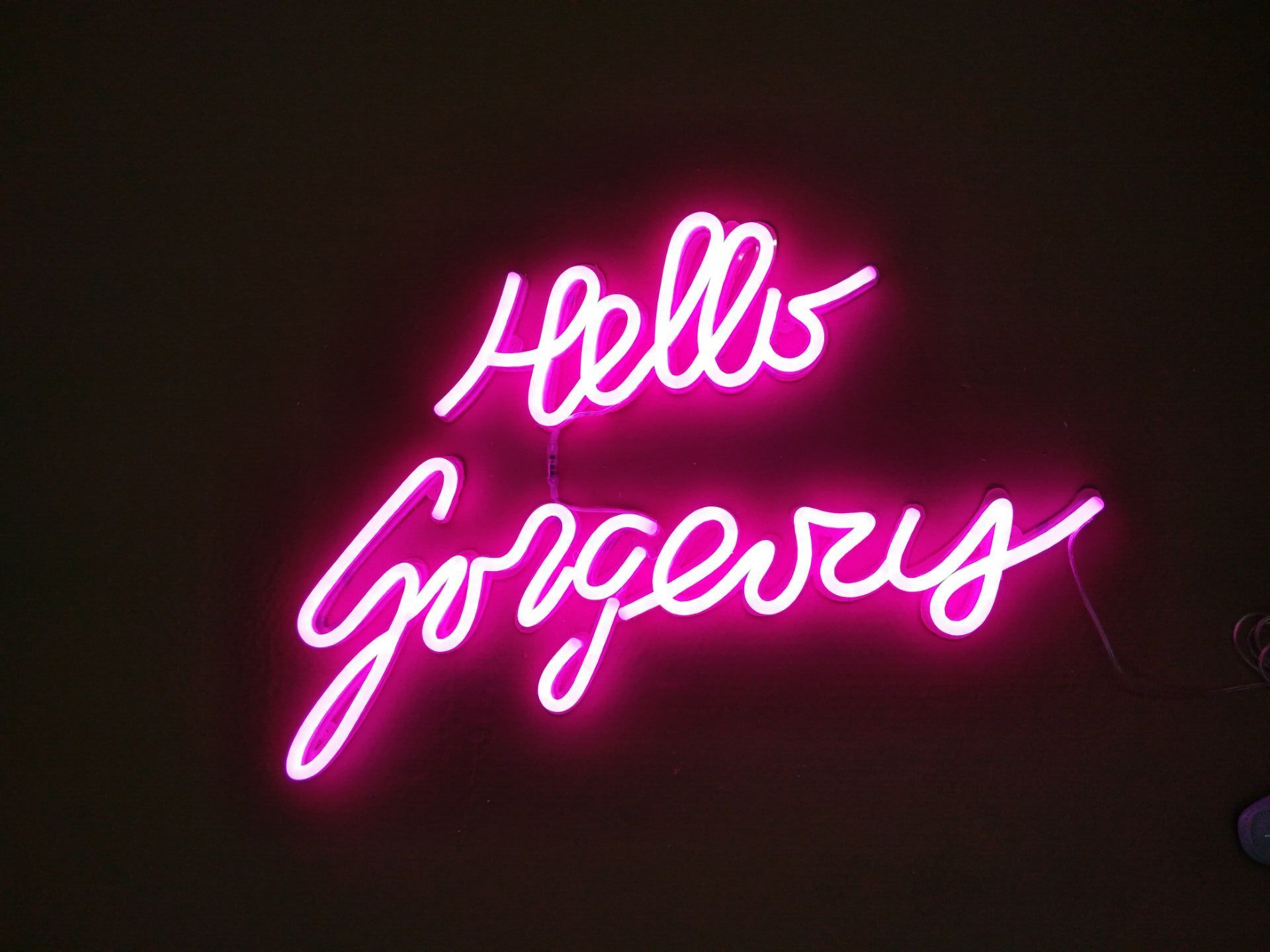 New Hello Gorgeous Neon Sign For Bedroom Wall Decor Artwork Light With Dimmer