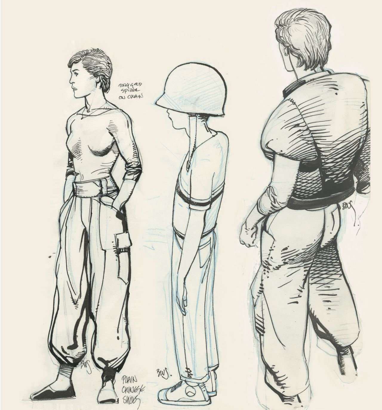 """Barry Windsor-Smith's characters design for """"American Dreamer"""" (Daredevil # 236, 1986)."""