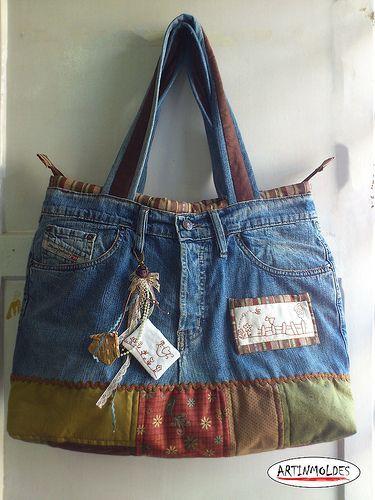 Bolsa artinmoldes | Jeanstasche, Tasche nähmuster und Taschen selber ...