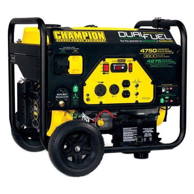Champion Power Equipment 76533 Dual Fuel Portable Generator 3800 4750 Duel Fuel Portable Generator Black Products Generadores Electricos Combustible E