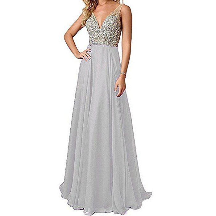 716b308ce3de1 QSYE Women's Beaded Prom Dreeses Long V-Neck Chiffon Evening Gowns 2017  Teal, 10 at Amazon Women's Clothing store: