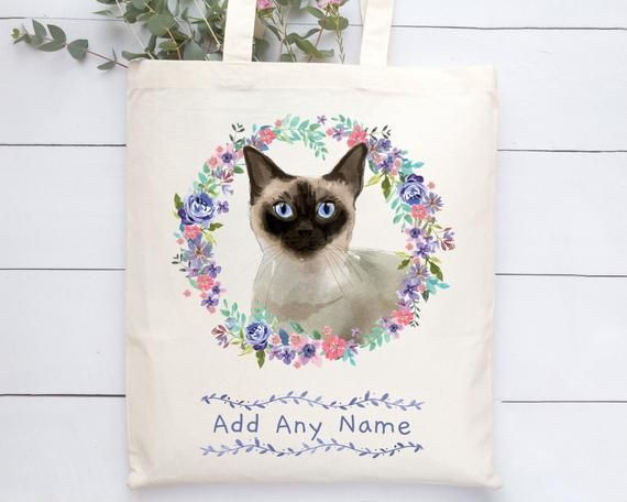 Personalised Siamese Cat Tote Bag  Add a Name  Personalised Siamese Cat Tote Bag  Add a Name