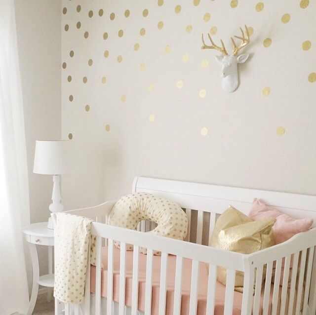 Gold Dots On Cream Colored Walls Obsessed With This Pink And Nursery