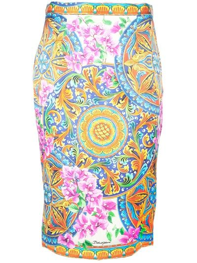 DOLCE & GABBANA - floral and baroque print skirt - love!
