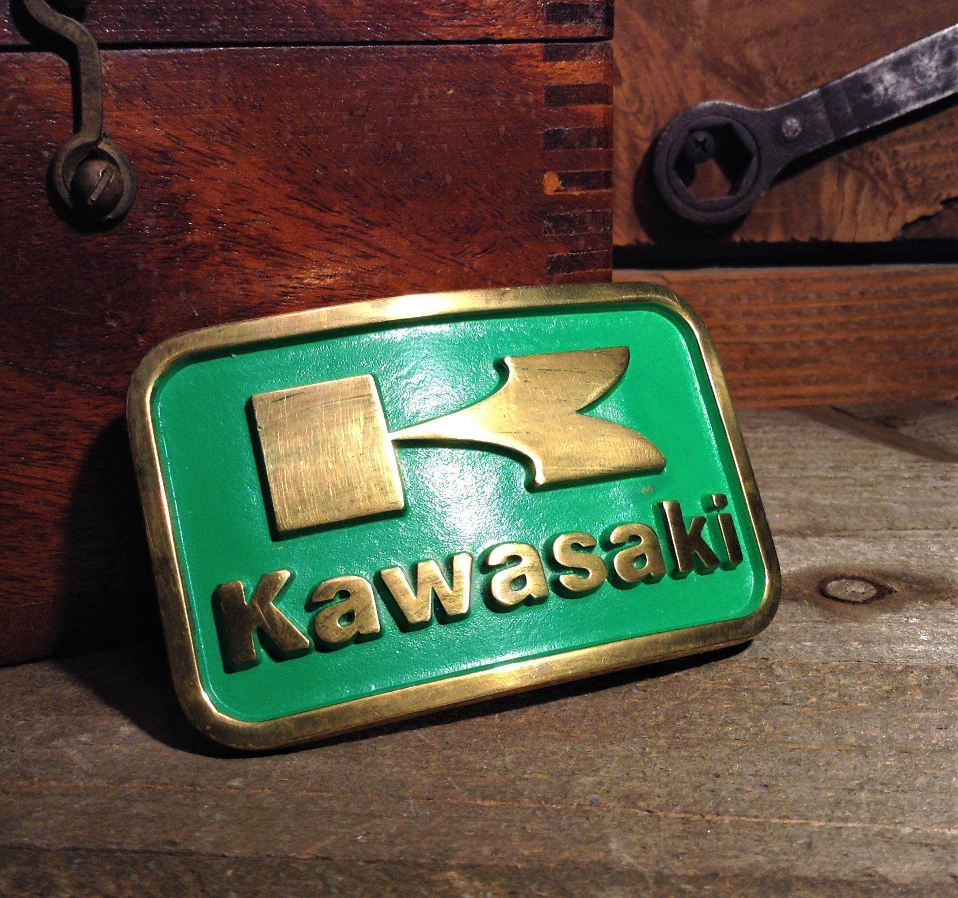 Vintage Kawasaki Belt Buckle Rare Green Solid Brass Buckle Kawasaki Motorcycles K Logo Collectible Belt Belt Buckles Brass Buckle Vintage Belt Buckles