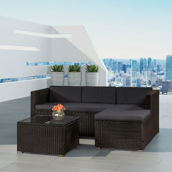 Gartenlounge schwarz  grau ✓ Lounge-Set inkl Sofa, Hocker und