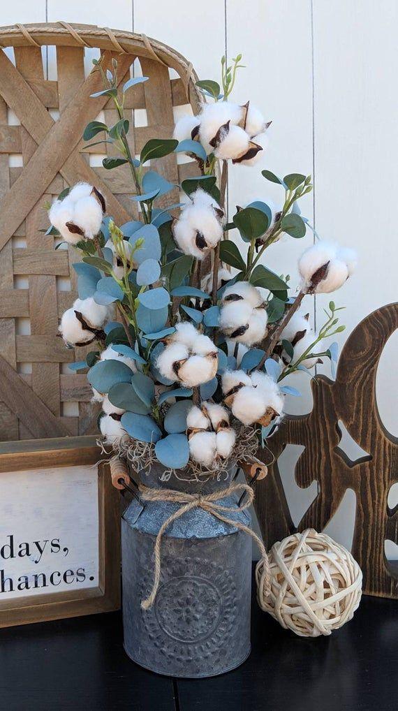 Cotton arrangement Eucalyptus arrangement Farmhouse Decor | Etsy