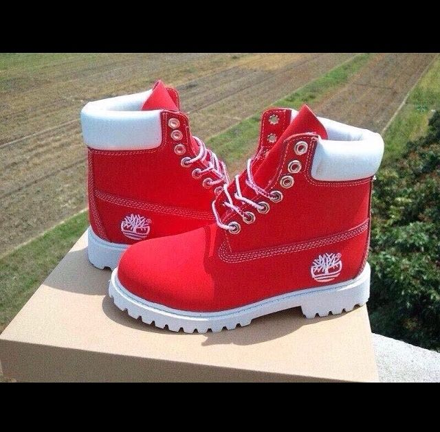quality design 8c873 af590 Red and white timbs | My Style | Timberland schuhe, Schuh ...