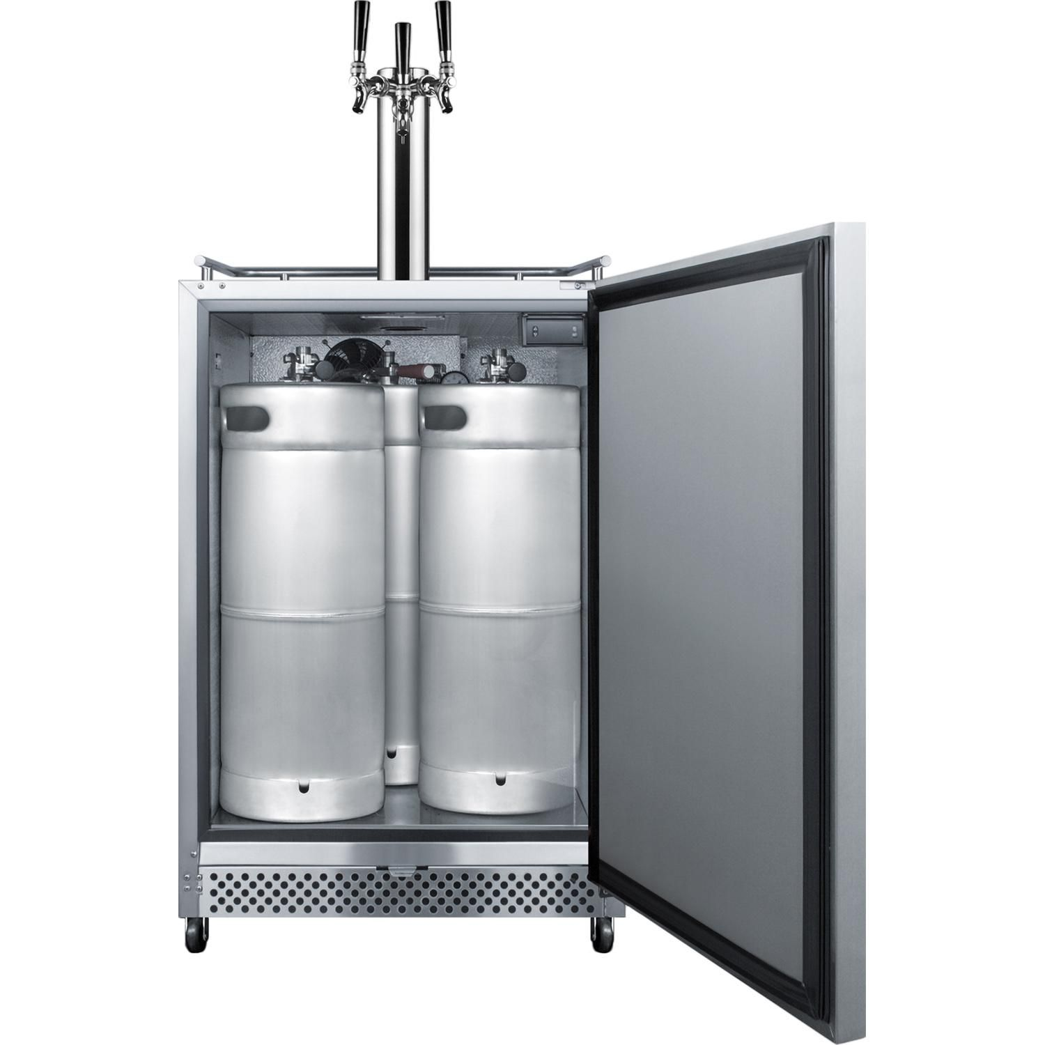 summit commercial 24 inch 6 04 cu ft outdoor rated triple tap beer dispenser kegerator on outdoor kitchen kegerator id=24918