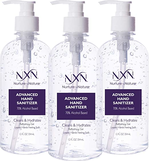 Nxn Beauty Advanced Hand Sanitizer Refreshing Gel With 70 Alcohol 36 Total Fl Oz 3 Pack Of 12 Oz 354ml Each Health P In 2020 Hand Sanitizer Sanitizer Alcohol