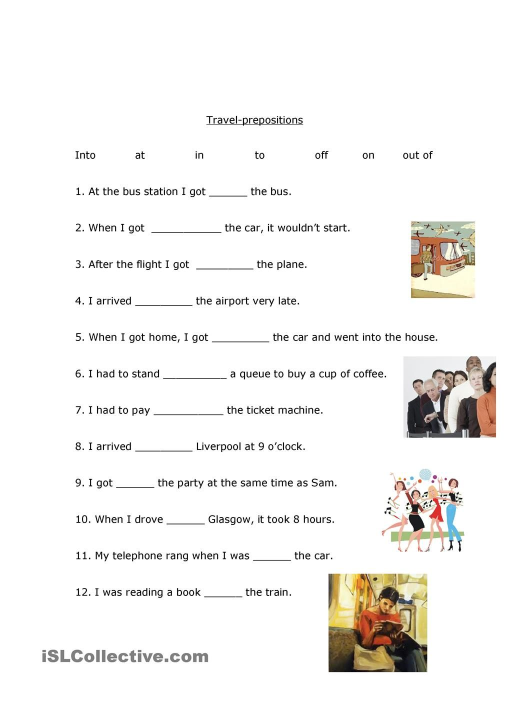medium resolution of Travel prepositions   Preposition worksheets