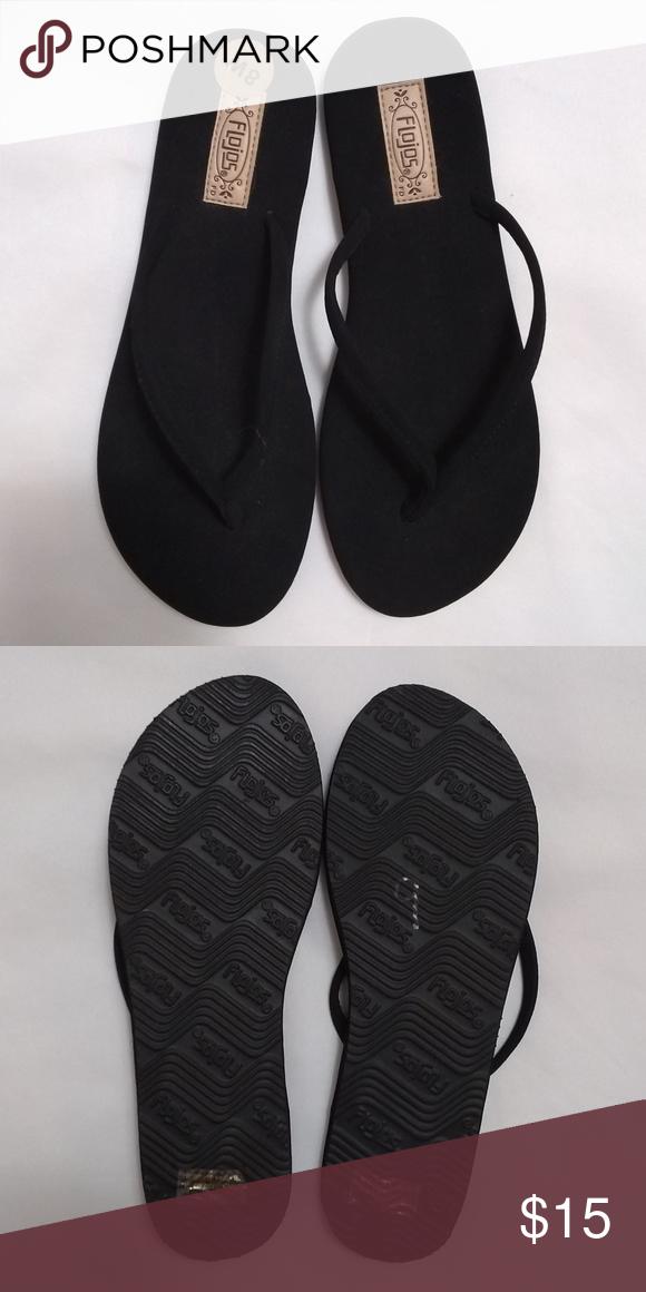 Flojos Fiesta Black Flat Sandals Flip Flops 8 NWOT Flojos Fiesta Style Black Fla…