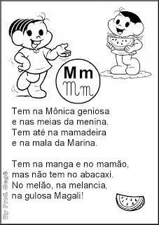 Alfabeto Em Textos Turma Da Monica Com Imagens Atividades
