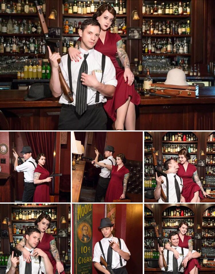 1930s Theme Engagement Photos Bonnie And Clyde Speakeasy Love On