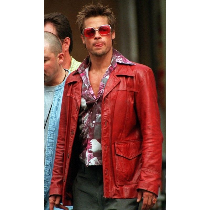 Fight Club Brad Pitt Real Leather Jacket FC Coat Red ALL Sizes