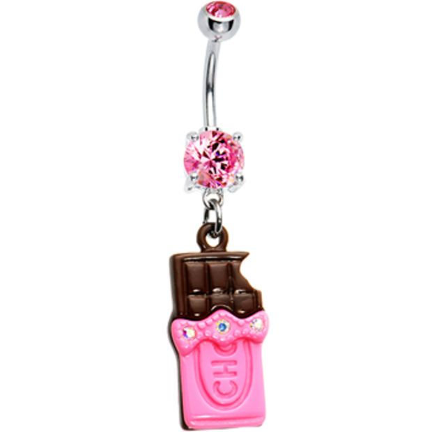 Pink Sweet Chocolate Bar Belly Ring Body Candy Body Jewelry