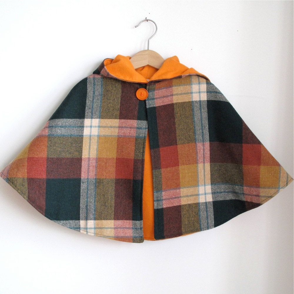 Wool Plaid and orange flannel hooded toddler Cape