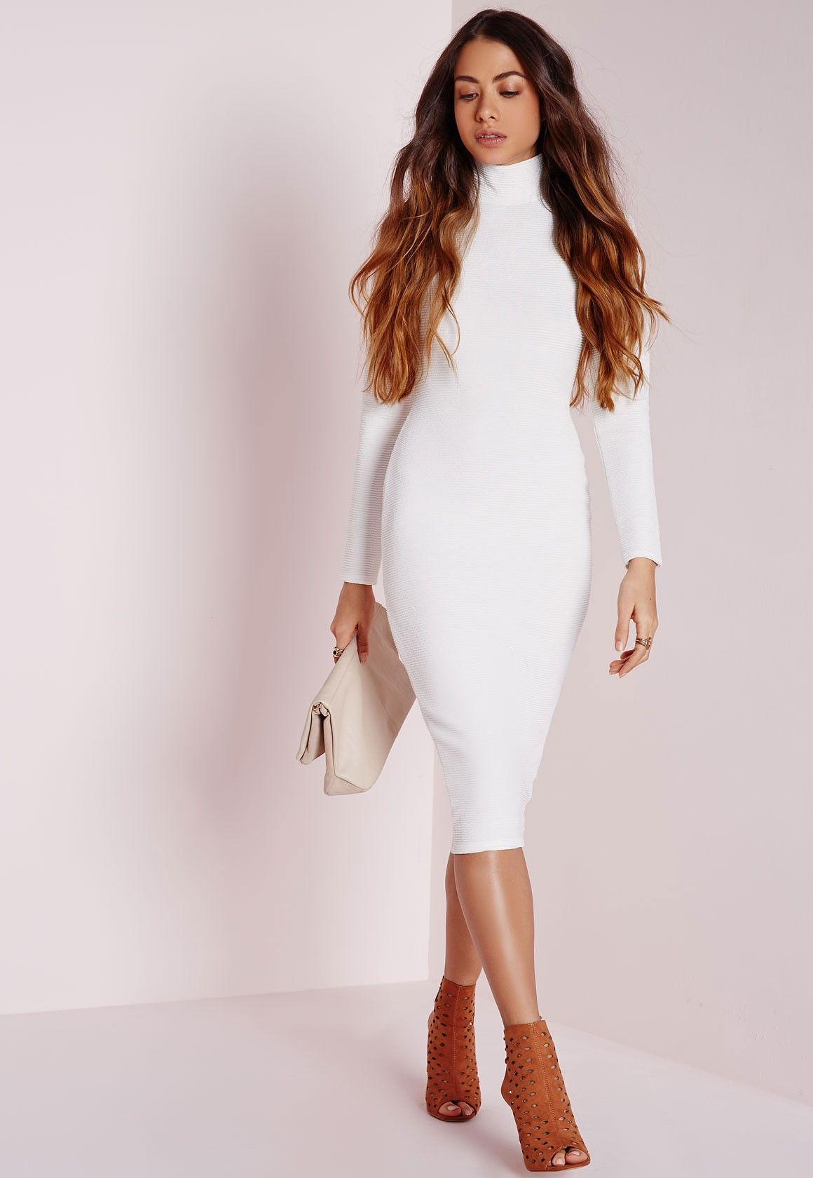 d9113de179d5 Missguided - roll neck ribbed midi dress white