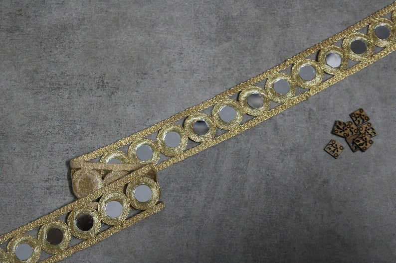 New Indian Cut Work Lace Trim Border Lace For Dupatta And Sari Gold Lace