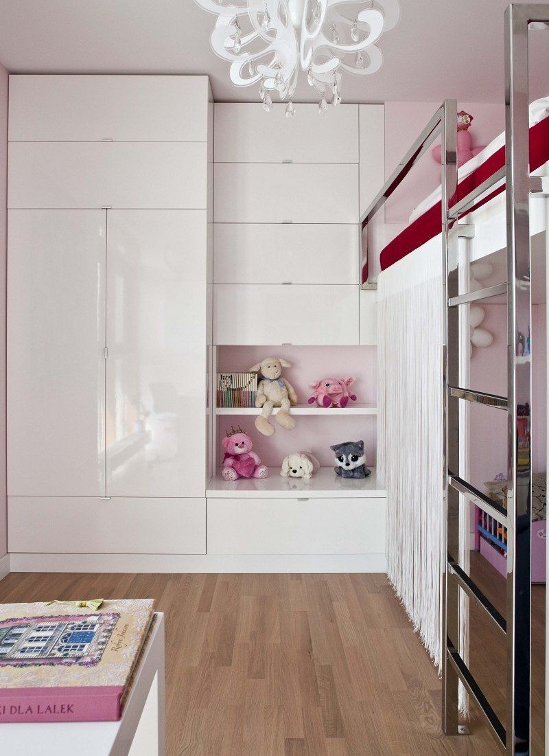 White Gloss Built In Wardrobe In Girl S Bedroom