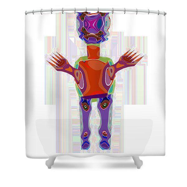 Navin Joshi Shower Curtains - Duckelle Cartoon Character Alien ...
