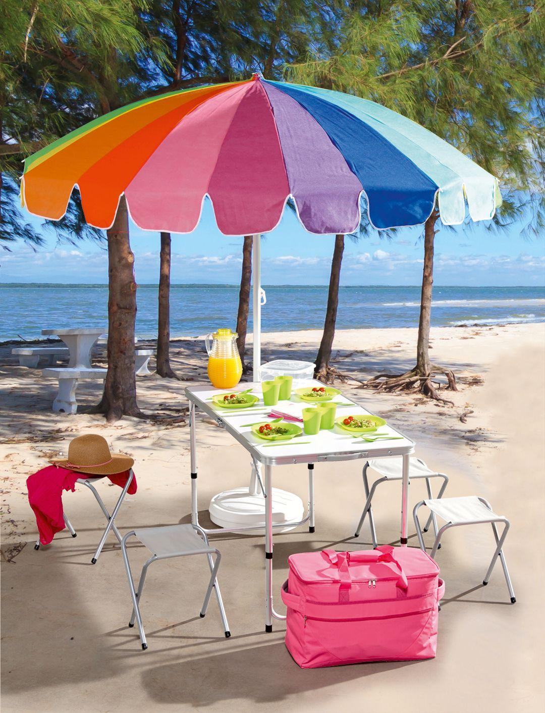 Table Pliante 4 Tabourets Parasol De Plage Sac Isotherme Carafe 2l Avec Element Refriferant Set Pique Nique 4 Personnes Wakacje