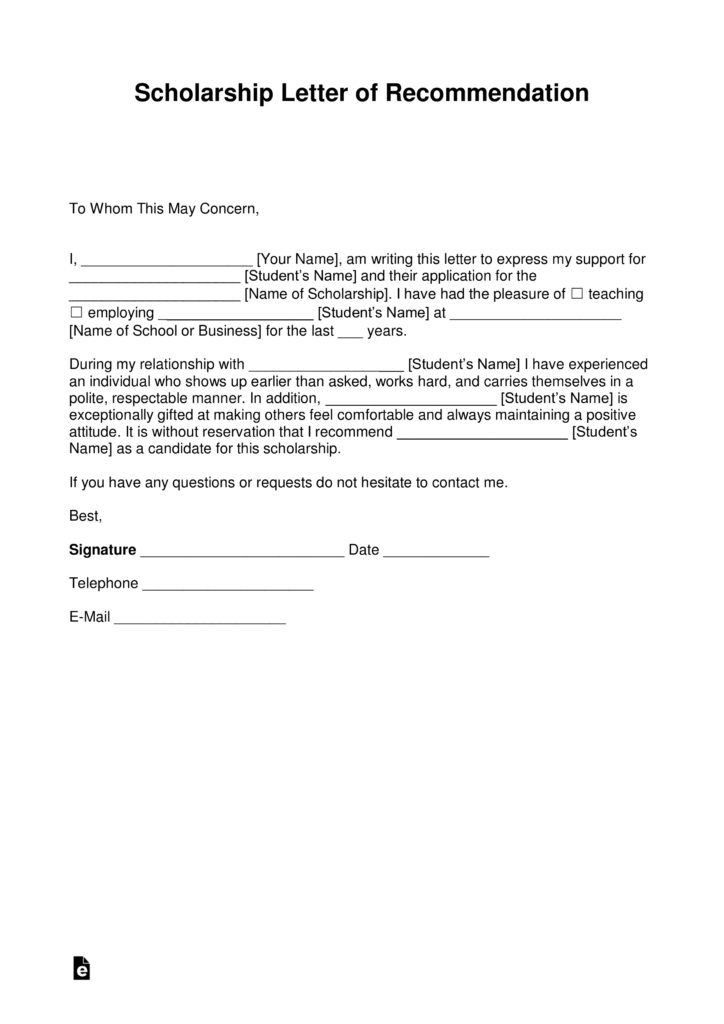 Free Letter for Scholarship Template with