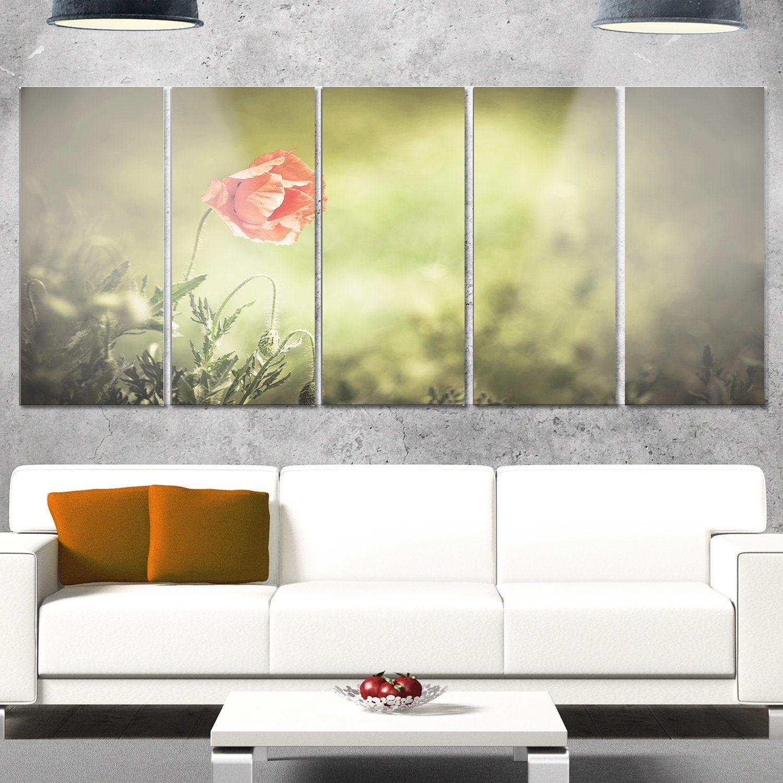 Designart \'Red Wild Poppy Flower on \' Modern Floral Glossy Metal ...
