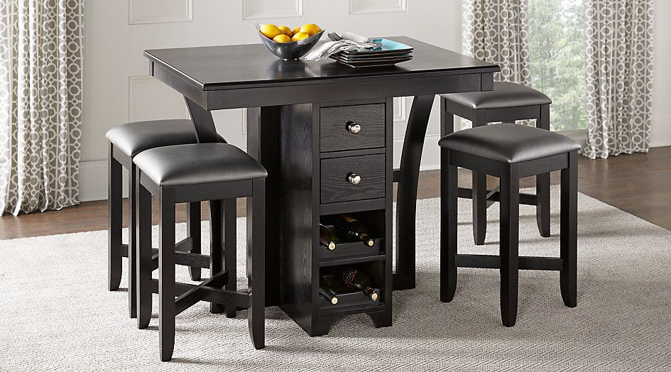 Incredible Ellwood Black 5 Pc Bar Height Dining Set Game Room Bar Beutiful Home Inspiration Semekurdistantinfo
