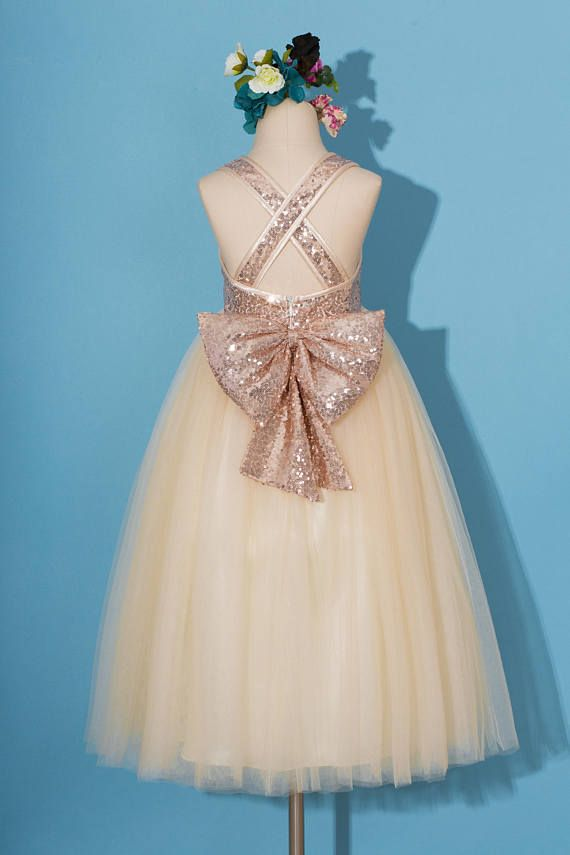 f02c9c725011 Rose gold sequins dress/pageant dress/ rose gold flower girl dress/Criss-cross  girl dress/champagne tulle dress/dress with sequins bow