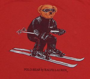 NOS-Vtg-POLO-BEAR-RALPH-LAUREN-T-Shirt-LARGE-Red-P-Wing-Stadium-90s-Spellout-NWT