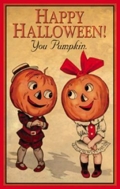 Happy Halloween Vintage Card With Pumpkinhead Couple.