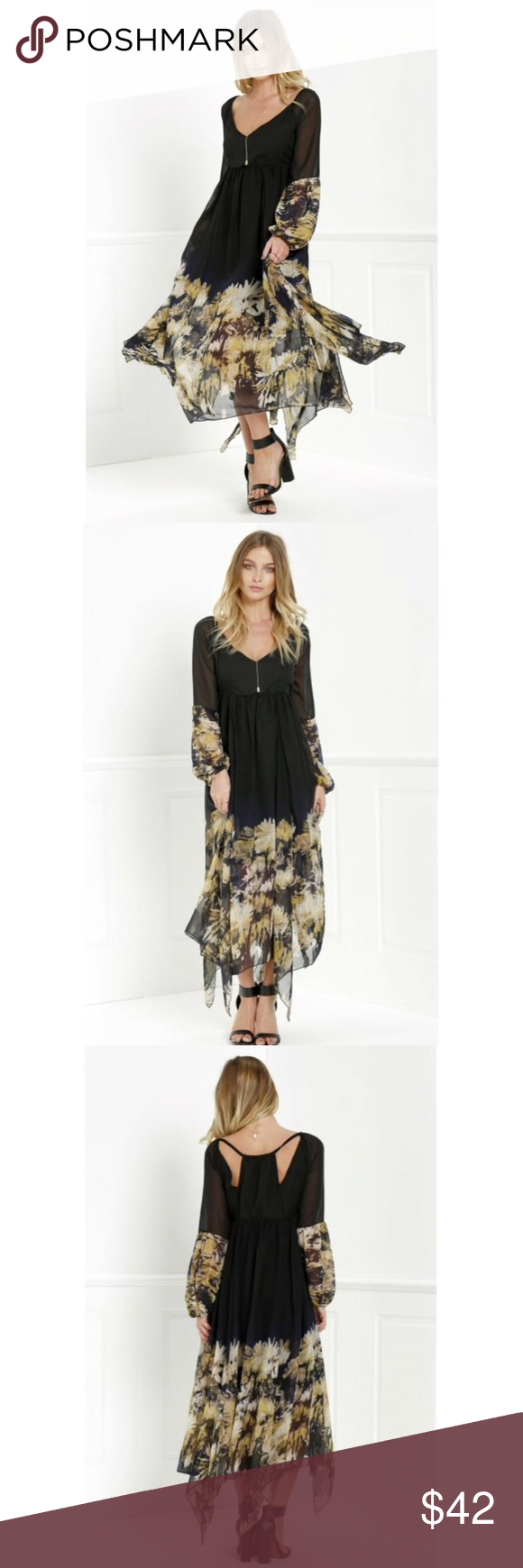 Long sleeve black floral maxi chiffon dress boutique in my