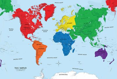 Early Learning Kids World Political Wall Map Mural Map Wall