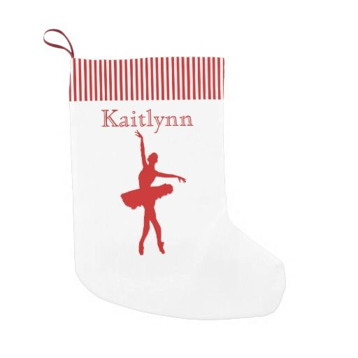Red and White Stripe Dancer Christmas Stocking Small Christmas Stocking