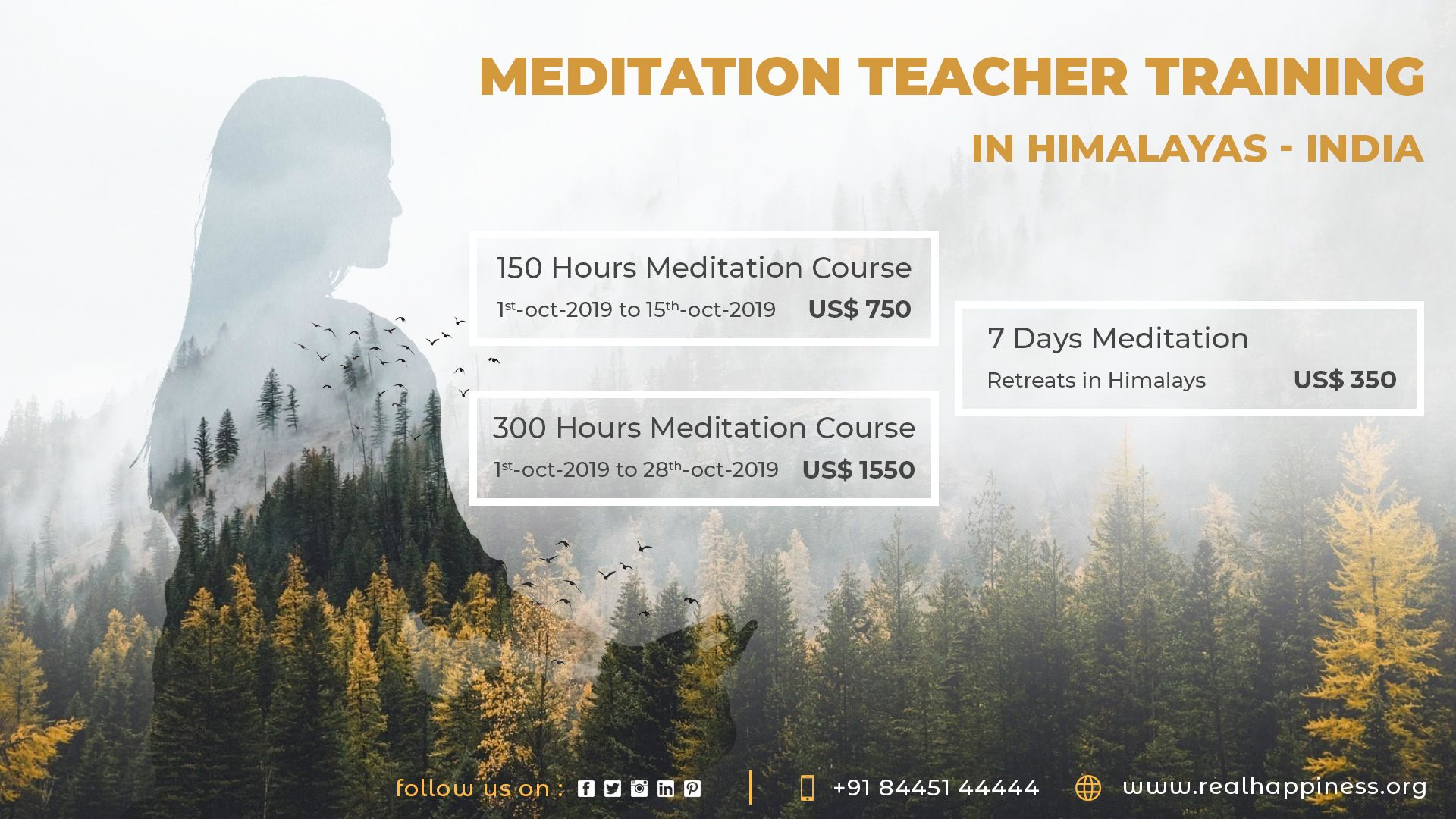 Join us for our upcoming Meditation TTC or Retreats Course ...