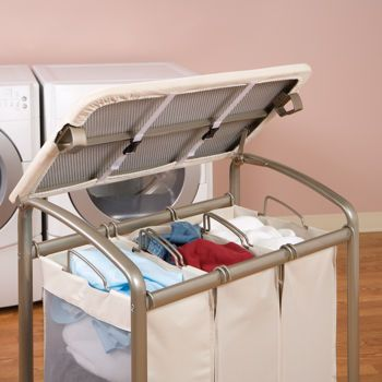 Seville Classics 3 Bag Laundry Sorter With Folding Table Laundry