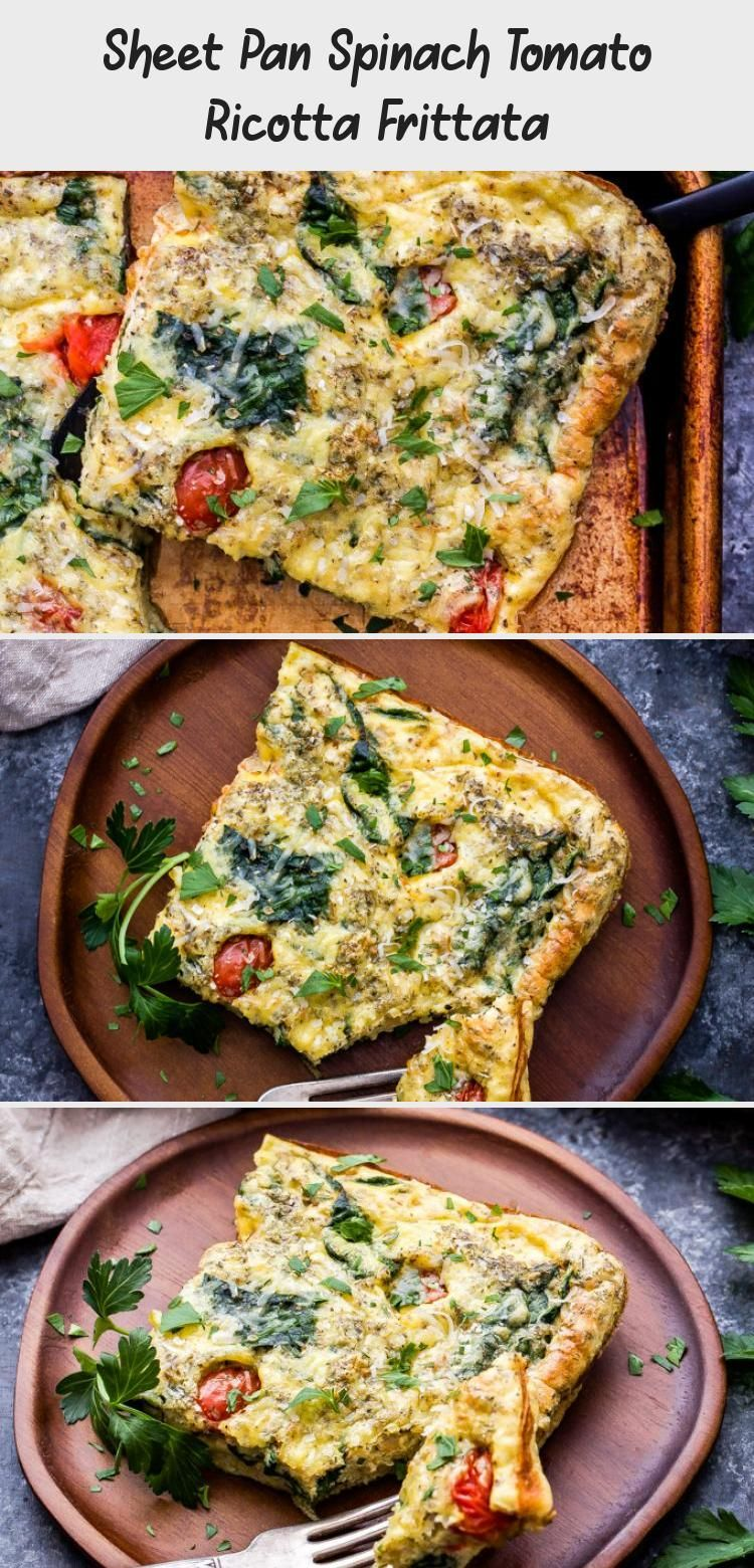 This Sheet Pan Spinach Tomato Ricotta Frittata is perfect for meal prep or feeding a group for breakfast The savory Italian flavors are great for breakfast lunch or dinne...