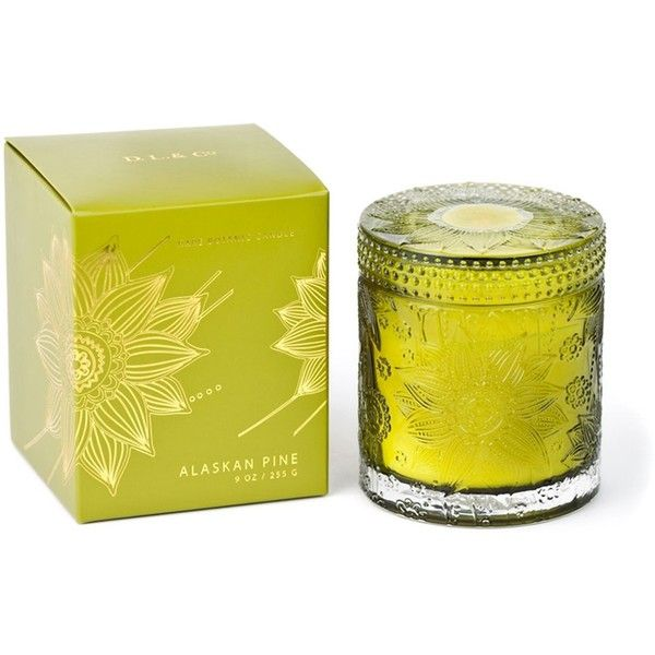 D.L. & Co. Alaskan Pine 9 oz Candle - Sunflower Glass Collection (47 CAD) ❤ liked on Polyvore featuring home, home decor, candles & candleholders, green, glass candle, ocean home decor, pine candle, scented candles and green home decor