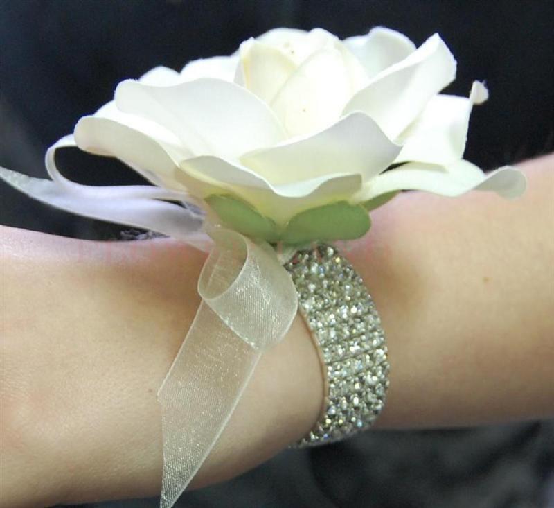 Details About Wedding Flowers Bridal Bouquet Silk White Cream Gardenia Wrist Corsage
