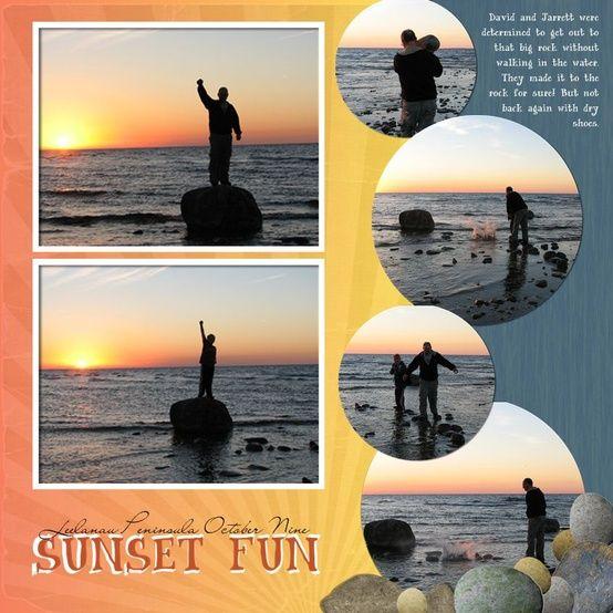 Sunset Scrapbook Page Scrapbooking Layouts Pinterest