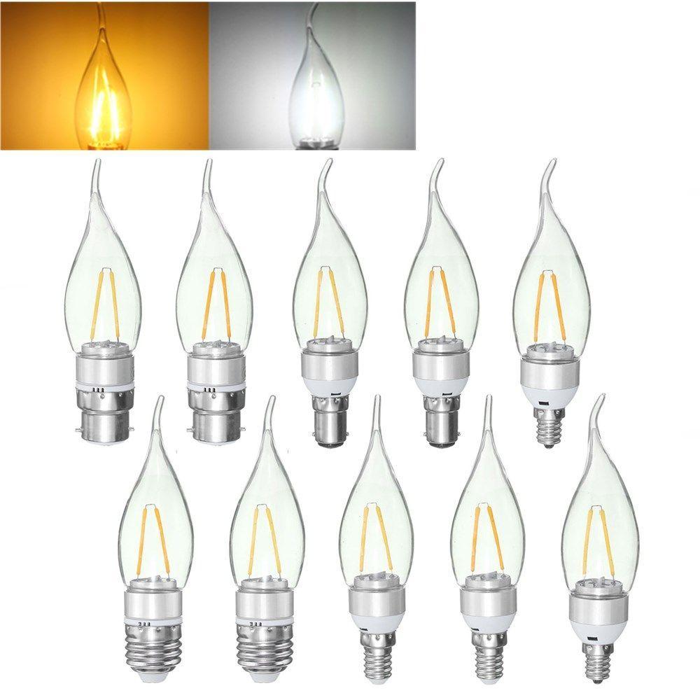 Wholesale Price Free Shipping Incandescent Light Bulbs E27 E14 E12 B22 B15 2w Non Dimmable Sliver Edison Pull Tail In Light Bulb Candle Bulb Led Light Bulbs